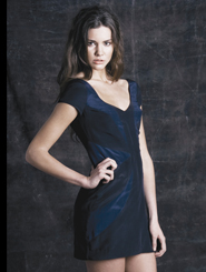 Rose Hill Dress - Black with Navy Panels