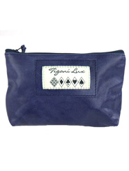 Leather Makeup Bag in Blue