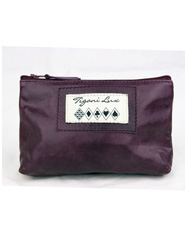 Leather Makeup Bag in Purple