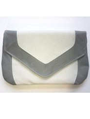 Baby Blue and White Kangaroo Leather Envelope Clutch